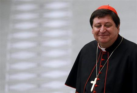Cardinal Joao Braz de Aviz of Brasil is seen at the end of a mass celebrated by Pope Benedict XVI in Paul VI hall at the Vatican February 20, 2012. REUTERS/Alessandro Bianchi