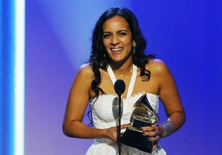 Anoushka Shankar accepts the award on behalf of the late Ravi Shankar for World Music Album for his work in ''The Living Room Sessions Part 1'' at the 55th annual Grammy Awards in Los Angeles, California, February 10, 2013. REUTERS/Mike Blake