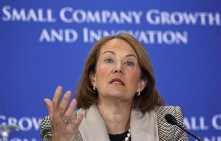 Small Business Administrator Karen Mills chairs a panel discussion at an Access to Capital Conference entitled ''Fostering Growth and Innovation for Small Companies'' in the Cash Room at the Treasury Department in Washington, in this file photo taken March 22, 2011. REUTERS/Larry Downing