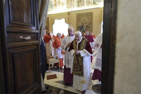 Pope Benedict XVI leaves at the end of a consistory at the Vatican February 11, 2013, in this picture provided by Osservatore Romano. REUTERS/Osservatore Romano