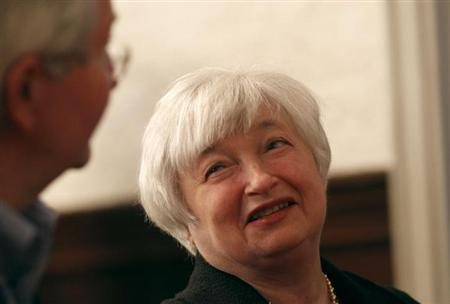 Janet Yellen, vice chair of the Board of Governors of the U.S. Federal Reserve System, speaks to an attendee prior to addressing the University of California Berkeley Haas School of Business in Berkeley, California November 13, 2012. REUTERS/Robert Galbraith/Files