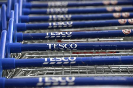 Trolleys are stacked outside a Tesco store in Hammersmith, west London October 3, 2012. REUTERS/Paul Hackett