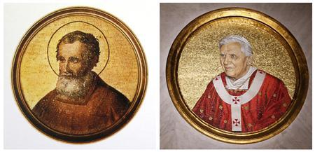 A combination picture of mosaics depicting Saint Celestine V (L) and Pope Benedict XVI taken February 11, 2013. REUTERS/Alessandro Bianchi