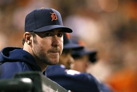 Detroit Tigers starting pitcher Justin Verlander watches from the dugout in the seventh inning during Game 1 of the MLB World Series baseball championship against the San Francisco Giants in San Francisco, October 24, 2012. REUTERS/Lucy Nicholson