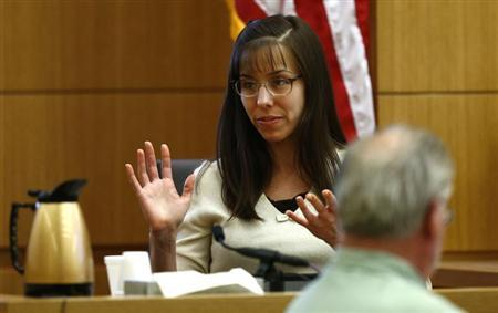 Jodi Arias gives testimony during her court appearance at the Maricopa County Superior Court in Phoenix, Arizona, February 11, 2013. REUTERS/Rob Schumacher/The Arizona Republic/Pool