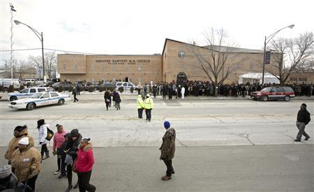 Mourners attend the funeral and wake for Hadiya Pendleton, who was fatally shot on January 29 in what police say was a case of mistaken identity in a gang turf war, in Chicago February 9, 2013. REUTERS/John Gress