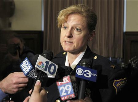Wilmington, Delaware Police Chief Christine Dunning makes remarks concerning the Wilmington courthouse shooting at the conclusion of a roundtable discussion on gun control at Girard College in Philadelphia, Pennsylvania, February 11, 2013. REUTERS/Tim Shaffer(UNITED STATES - Tags: POLITICS CRIME LAW)