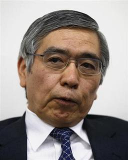 Asian Development Bank President Haruhiko Kuroda speaks during a group interview in Tokyo February 11, 2013. Kuroda said two years was an appropriate timeframe for the Bank of Japan to meet its new inflation goal, but declined to comment on whether he was in the running to take over at the central bank next month. REUTERS/Toru Hanai