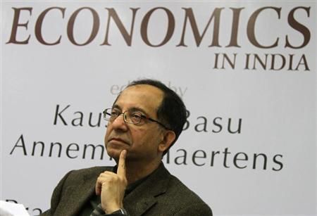 Kaushik Basu speaks during the book release ''The New Oxford Companion to Economics in India'' edited by Basu and Annemie Maertens, in New Delhi December 15, 2011. REUTERS/B Mathur