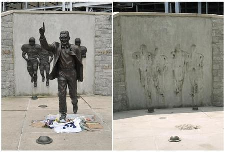 A combination photo shows the Joe Paterno statue outside Beaver Stadium before (L) and after it has been removed (R) in State College, Pennsylvania, July 20, 2012 and July 22, 2012. REUTERS/Pat Little /Files