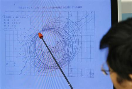 Japan Meteorological Agency's earthquake and tsunami observations division director Akira Nagai points to a spot on the map showing the quake centre during a news conference in Tokyo February 12, 2013. REUTERS/Toru Hanai