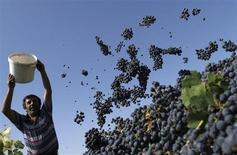 Мужчина опорожняет ведро с виноградом во время сбора урожая в грузинском селе Кондоли 29 сентября 2010 года. Грузия ожидает удвоения прямых иностранных инвестиций до примерно $2 миллиардов в 2013 году, и собирается нанять иностранные банки консультантами нового суверенного фонда для софинансирования проектов. REUTERS/David Mdzinarishvili