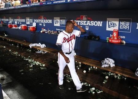 Atlanta Braves' Michael Bourn leaves the dugout at the end of their MLB National League Wild Card playoff baseball game against the St. Louis Cardinals in Atlanta, Georgia October 5, 2012. REUTERS/Tami Chappell