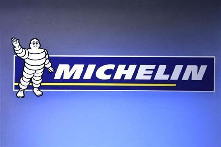 The logo of French tyremaker Michelin is seen during the company's 2009 annual results presentation in Paris February 12, 2010. REUTERS/Charles Platiau