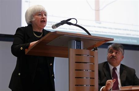 U.S. Federal Reserve Vice Chair Janet Yellen speaks at the American Federation of Labor and Congress of Industrial Organizations (AFL-CIO) in Washington February 11, 2013. Austerity policies in the United States and Europe that sharply cut spending to reduce budget deficits could be self-defeating if they derail economic growth, Yellen said on Monday. REUTERS/Kevin Lamarque (UNITED STATES - Tags: BUSINESS POLITICS)