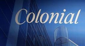 El grupo inmobiliario Colonial comenzará próximamente las negociaciones para refinanciar deuda que vence el año que viene, dijo el consejero delegado del grupo a Expansión. En la imagen de archivo, un logo de Colonial durante una junta de Accionistas en Barcelona, en junio de 2008. REUTERS/Gustau Nacarino
