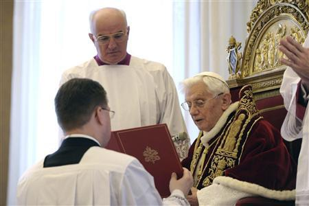 Pope Benedict XVI attends a consistory at the Vatican February 11, 2013, in this picture provided by Osservatore Romano. REUTERS/Osservatore Romano