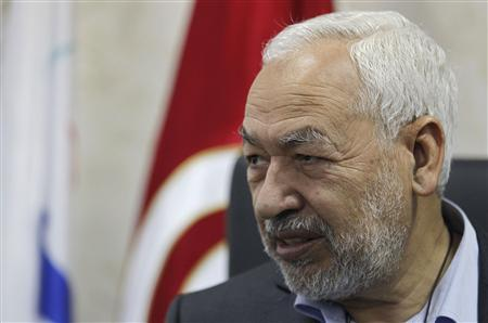 The leader of Tunisia's main Islamist Ennahda party, Rached Ghannouchi, speaks during an interview with Reuters in Tunis February 12, 2013. REUTERS/Louafi Larbi