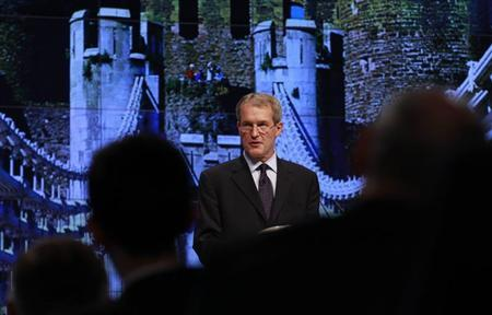 Owen Paterson speaks on the first day of the Conservative Party's annual conference in Manchester, northern England October 2, 2011. REUTERS/Suzanne Plunkett