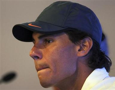 Spain's tennis player Rafael Nadal attends a news conference in Sao Paulo February 12, 2013. Nadal is in Brazil for the Brasil Open 2013 tournament. REUTERS/Paulo Whitaker