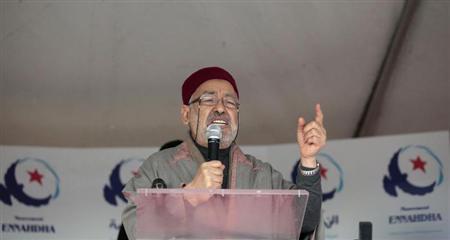 Rached Ghannouchi, leader of the Islamist Ennahda movement, Tunisia's main Islamist political party, gives a speech during a public meeting in Ariana, near the capital Tunis January 11, 2013. REUTERS/Zoubeir Souissi