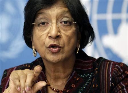 U.N. High Commissioner for Human Rights Navi Pillay addresses a news conference at the United Nations European headquarters in Geneva October 18, 2012. REUTERS/Denis Balibouse/Files