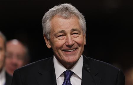 Former U.S. Senator Chuck Hagel (R-NE) testifies during a Senate Armed Services Committee hearing on his nomination to be Defense Secretary, on Capitol Hill in Washington, in this January 31, 2013, file photo. REUTERS/Kevin Lamarque/Files (UNITED STATES - Tags: POLITICS MILITARY HEADSHOT)
