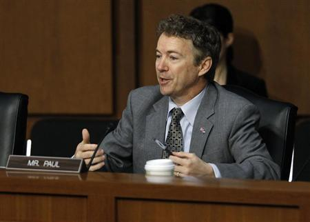 U.S. Senator Rand Paul (R-KY) questions Senator John Kerry (Not Pictured) during a Senate Foreign Relations Committee confirmation hearing on Kerry's nomination to be secretary of state, on Capitol Hill in Washington, January 24, 2013. REUTERS/Gary Cameron