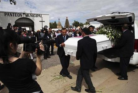 Pallbearers carry the coffin containing the remains of Julia Pastrana in Sinaloa de Leyva February 12, 2013. Pastrana, dubbed the ''ugliest woman in the world'', was buried in her native northern Mexico on Tuesday, more than 150 years after her death and a tragic life exhibited as a freak of nature at circuses around the world. Born in Mexico in 1834, Pastrana suffered from hypertrichosis and gingival hyperplasia, diseases that gave her copious facial hair and a thick-set jaw, and led to her being called a ''bear woman'' or ''ape woman.'' REUTERS/Stringer