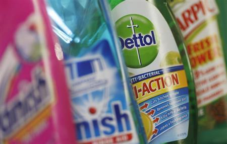 Products produced by Reckitt Benckiser; Vanish, Finish, Dettol and Harpic, are seen in London February 12, 2008. REUTERS/Stephen Hird