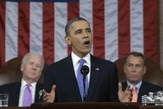 U.S. President Barack Obama (C), flanked by Vice President Joe Biden (L) and House Speaker John Boehner (R-OH), delivers his State of the Union speech on Capitol Hill in Washington, February 12, 2013. REUTERS/Charles Dharapak/Pool