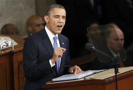U.S. President Barack Obama delivers his State of the Union speech on Capitol Hill in Washington, February 12, 2013. REUTERS/Jonathan Ernst