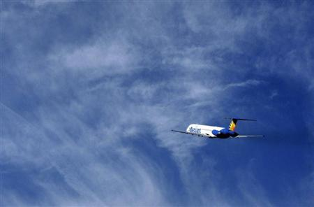 An Allegiant Air MD-83 passenger jet takes off from the Monterey airport in Monterey, California, February 26, 2012. REUTERS/Michael Fiala