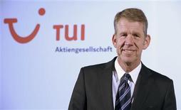 Le nouveau patron de TUI AG, Friedrich Joussen. TUI confirme qu'il compte dégager un bénéfice net pour cette année et publie des résultats au premier trimestre qui battent le consensus grâce à la performance de TUI Travel, le premier voyagiste européen, et à une meilleure rentabilité de son activité hôtellerie. /Photo prise le 13 février 2013/REUTERS/Fabian Bimmer