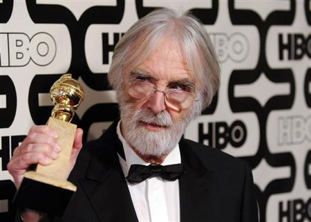 German director Michael Haneke, Golden Globe winner for best foreign film ''Amour'' arrives at the HBO after-party following the 70th annual Golden Globe Awards in Beverly Hills, California January 13, 2013. REUTERS/Gus Ruelas