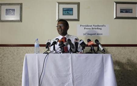 Maldives' former President Mohamed Nasheed addresses a news conference in Male in this file photo taken August 31, 2012. REUTERS/Adnan Abidi