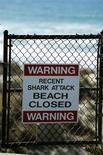 Los ataques de tiburones a humanos en Estados Unidos alcanzaron en 2012 su nivel más alto en más de una década, pero los investigadores dicen que esto no significa que los tiburones sean más agresivos. En la imagen, de archivo, un cartel advierte de un reciente ataque de tiburón en una playa que permanece cerrada en California. REUTERS/U.S. Air Force Photo/