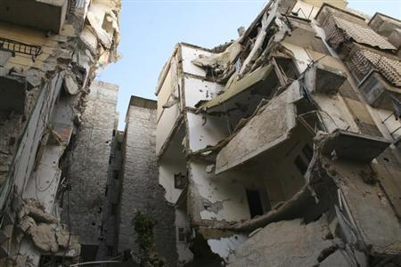 A view shows damaged buildings in the Aleppo district of Salaheddine February 12, 2013. REUTERS/Aref Hretani