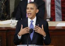 Presidente norte-americano Barack Obama discursa no Capitólio, em Washington. Obama disse na terça-feira que os Estados Unidos vão reforçar seu sistema antimísseis e ajudar o mundo a responder a ameaça representada pela Coreia do Norte, que desafiou a comunidade internacional ao realizar um terceiro teste nuclear. 12/02/2013 REUTERS/Kevin Lamarque
