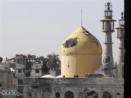 A view is seen of a damaged mosque in Darya near Damascus, after clashes between forces loyal to Syrian President Bashar al-Assad and fighters of the Free Syrian Army in this handout photograph distributed by Syria's national news agency SANA on February 9, 2013. REUTERS/SANA/Handout