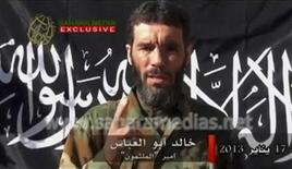 Veteran jihadist Mokhtar Belmokhtar speaks in this file still image taken from a video released by Sahara Media on January 21, 2013. REUTERS/Sahara Media via Reuters TV/Files