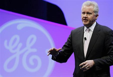 General Electric (GE) Chairman and CEO Jeff Immelt delivers the opening remarks before a panel discussion hosted by GE on ''The Future of Manufacturing: Growing American Competitiveness'' at the Mellon Auditorium in Washington February 13, 2012. REUTERS/Gary Cameron