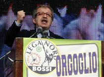 Italy's Northern League member Roberto Maroni addresses the audience during the Northern League party rally in Bergamo in this April 10, 2012 file photo. REUTERS/Paolo Bona/Files