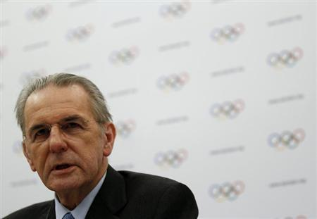 International Olympic Committee (IOC) President Jacques Rogge addresses during a news conference at the end of a two-day Executive Board meeting in Lausanne February 13, 2013. REUTERS/Denis Balibouse