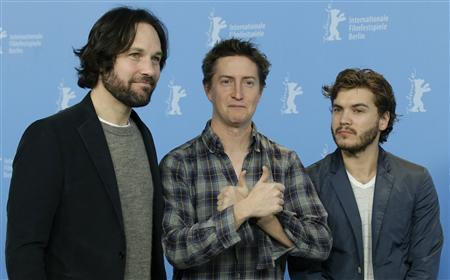 Director David Gordon Green (C), and actors Paul Rudd (L) and Emile Hirsch pose during a photocall to promote the movie ''Prince Avalanche'' at the 63rd Berlinale International Film Festival in Berlin February 13, 2013. REUTERS/Tobias Schwarz