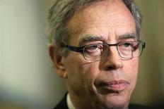 Joe Oliver, Canada's Minister of Natural Resources, talks to media after speaking at the Canadian Aboriginal Minerals Association's 20th Anniversary Conference in Toronto, in this file photo taken November 19, 2012. REUTERS/Brett Gundlock