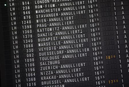 A destination board shows cancelled flights at the departure area. REUTERS/Lisi Niesner
