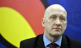 Finnish manager Jarmo Kekalainen attends a news conference in Helsinki February 13, 2013. REUTERS/Kimmo Mantyla/Lehtikuva