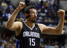 Orlando Magic forward Hedo Turkoglu of Turkey celebrates near the end of Game 1 of their first round NBA Eastern Conference basketball playoffs against the Indiana Pacers in Indianapolis April 28, 2012. REUTERS/Brent Smith