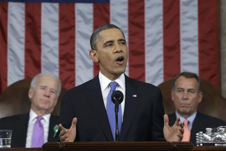 U.S. President Barack Obama (C), flanked by Vice President Joe Biden (L) and House Speaker John Boehner (D-OH), delivers his State of the Union speech on Capitol Hill in Washington, February 12, 2013. REUTERS/Charles Dharapak/Pool